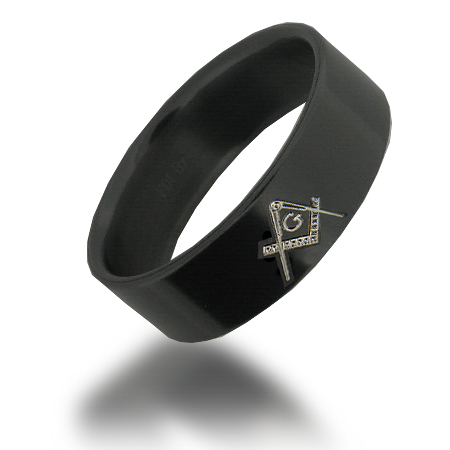 Black Zirconium 7mm Masonic Ring