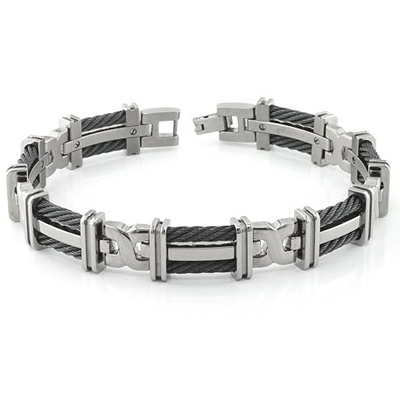 Edward Mirell 8.5in Titanium Bracelet with Double Black Cable