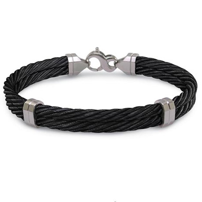 Edward Mirell Black Titanium 8in Double Cable Bracelet