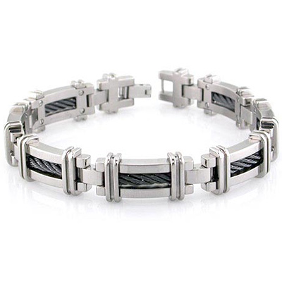 Edward Mirell Titanium 8.25in Bracelet with Single Black Cable