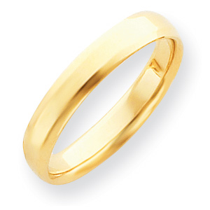 14kt Yellow Gold 4mm Bevel Edge Comfort Fit Wedding Band