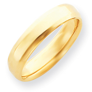 14kt Yellow Gold 5mm Bevel Edge Comfort Fit Wedding Band