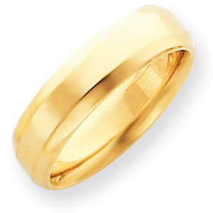 14kt Yellow Gold 6mm Bevel Edge Comfort Fit Wedding Band