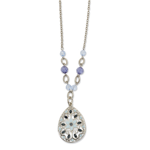 Silver-tone Light and Dark Blue Crystal and Enamel 16in Necklace