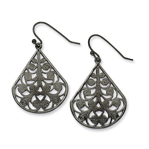 Black-plated Filigree Dangle Earrings