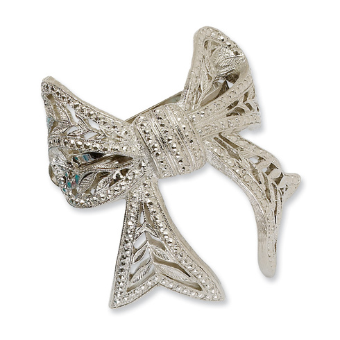 Silver-tone Bow Ponytail Holder