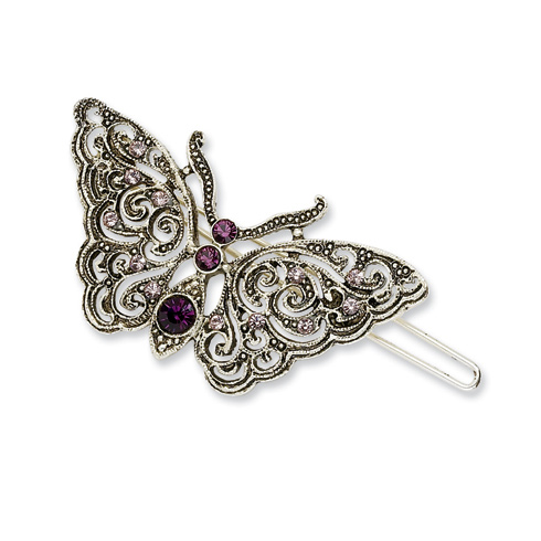 Silver-tone Amethyst and Light Amethyst Butterfly Barrette