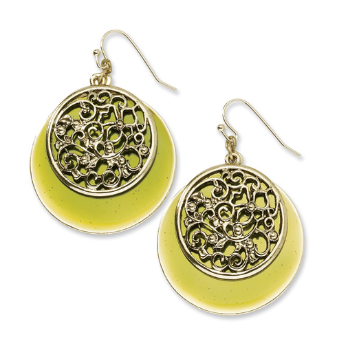 Brass-tone Filigree and Green Enamel Circle Dangle Earrrings
