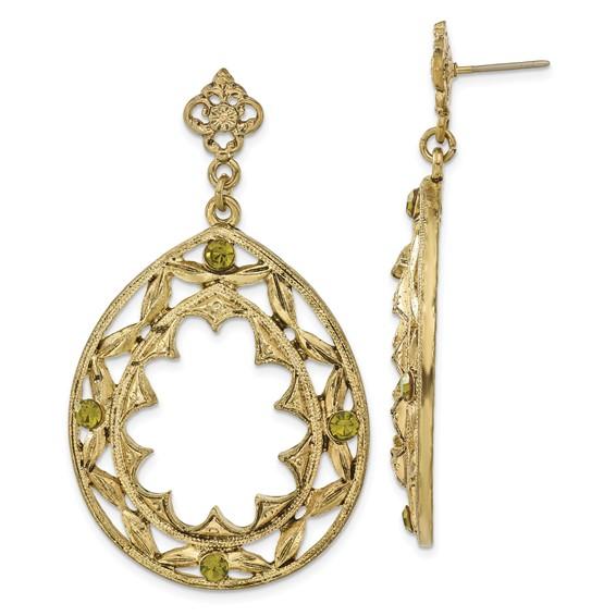 Brass-tone Green Crystal Teardrop Post Dangle Earrings