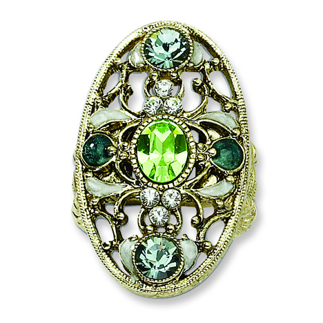 Brass-tone Green Clear and Light Blue Crystals Stretch Ring