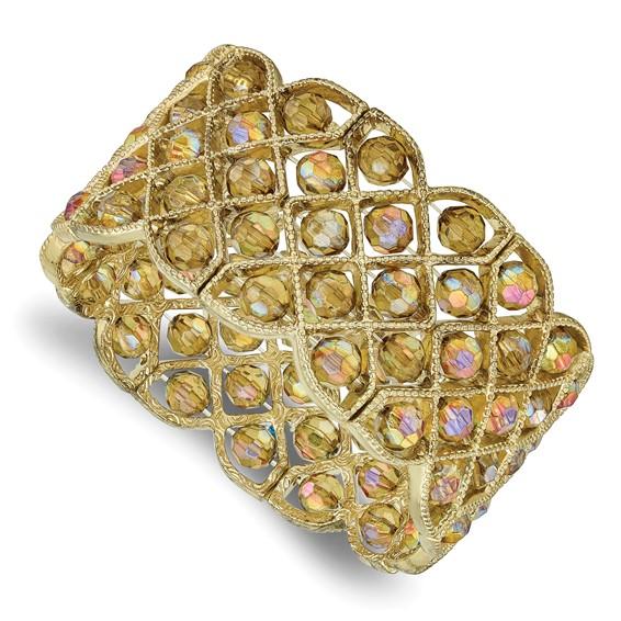 Brass-tone Olive Aurora Borealis Crystal Stretch Bracelet