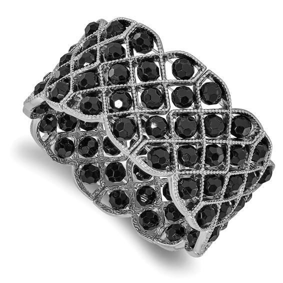 Silver-tone Black Crystal Stretch Bracelet