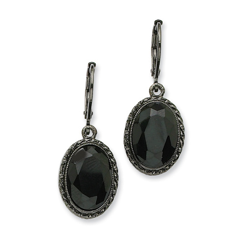 Black-plated Faceted Jet Bead Oval Drop Leverback Earrings