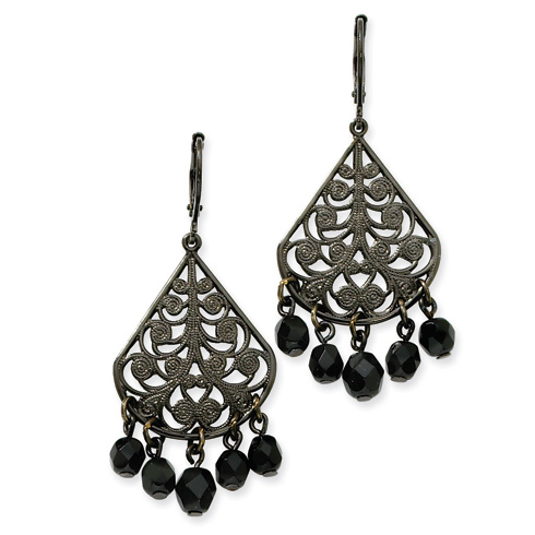 Black-plated Faceted Jet Bead Chandelier Leverback Earrings