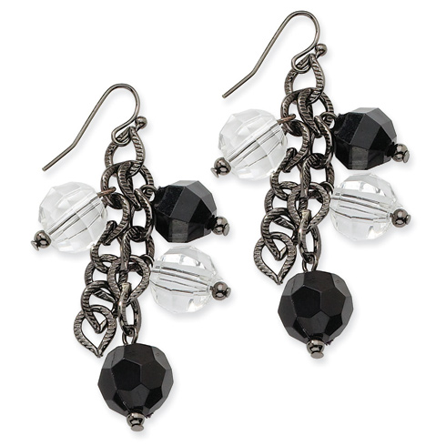 Black-plated Faceted Jet Clear Crystal Beaded Drop Earrings