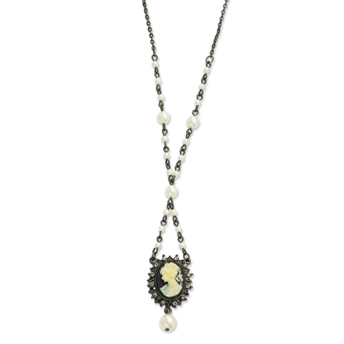 Cameo Black Crystal Cultura Glass Pearl 18in Necklace