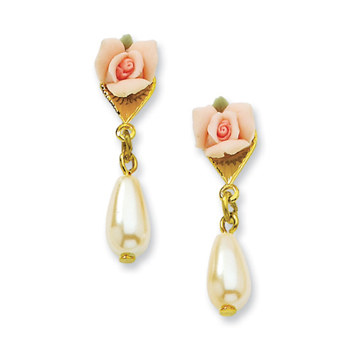 Gold-tone Porcelain Rose Cultura Glass Pearl Teardrop Post Earrings