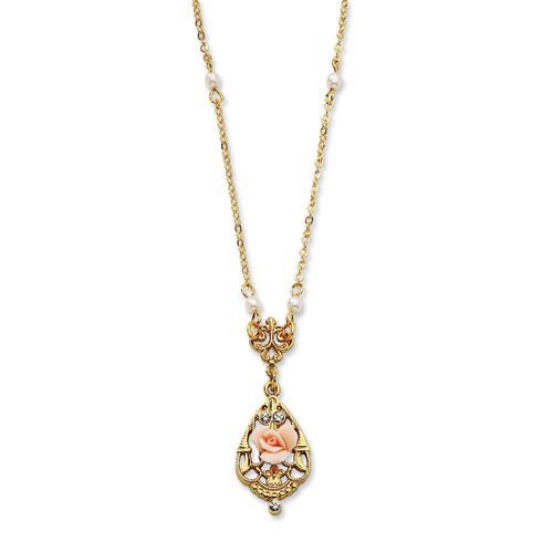 Gold-tone Crystal Pink Porcelain Rose Cultura Glass Pearl 17in Necklace