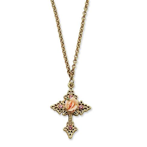 Gold-tone Pink Porcelain Rose Pink Crystal Cross 18in Necklace