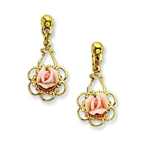 Gold-tone Pink Porcelain Rose Filigree Drop Post Earrings