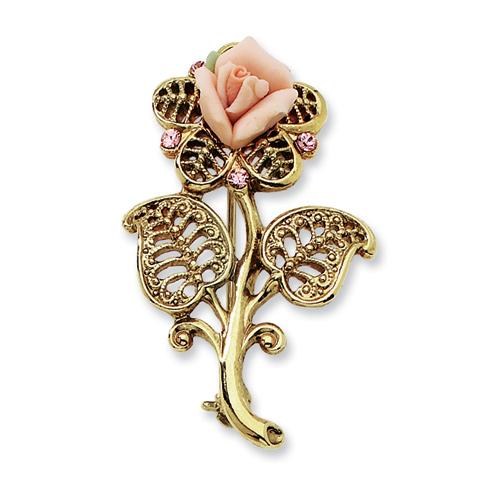 Gold-tone Pink Porcelain Rose Pink Crystal Pin