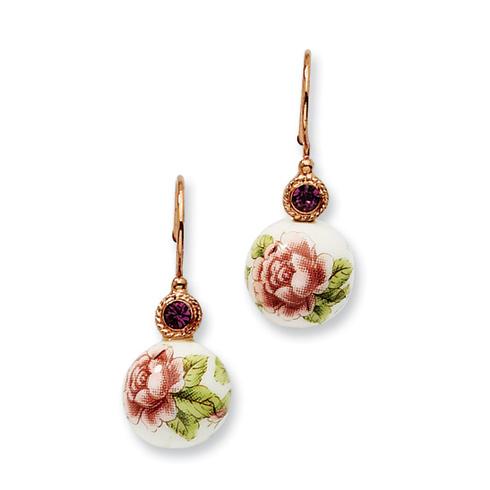 Rose-tone Purple Crystal Rose Flower Decal Drop Earrings