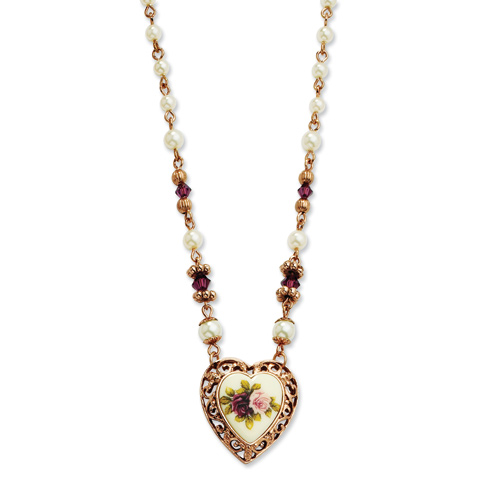 Rose-tone Purple Crystal Floral Cultura Glass Pearl Heart 15in Necklace