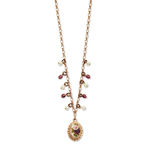 Rose-tone Cultura Glass Pearl Purple Crystal Floral Decal 16in Necklace