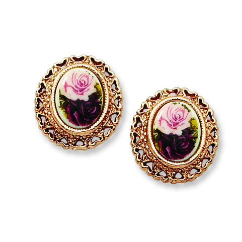 Rose-tone Rose Flower Decal Button Post Earrings
