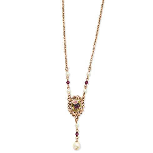 Rose-tone Floral Decal Purple Crystal Cultura Glass Pearl 16in Necklace