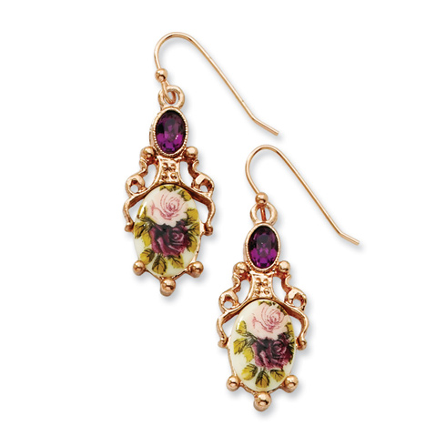 Rose-tone Dark Purple Crystal Floral Decal Drop Earrings