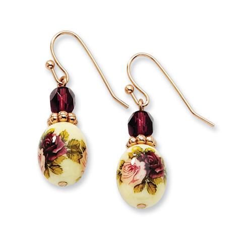 Rose-tone Dark Purple Crystal Floral Decal Drop Earrings