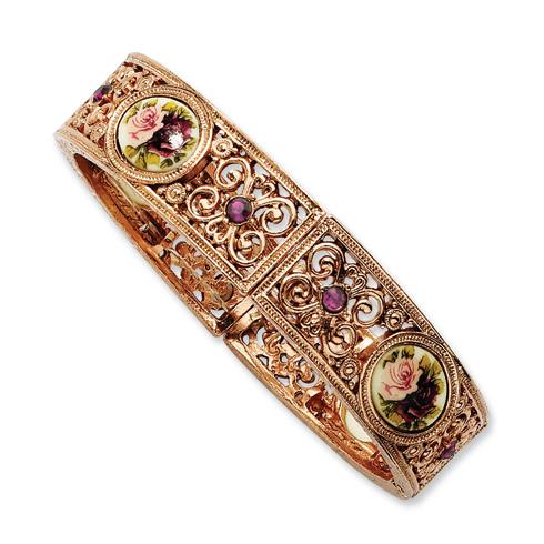 Rose-tone Dark Purple Crystal Floral Decal Stretch Bracelet