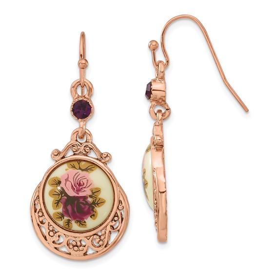 Rose-tone Dark Purple Floral Decal Drop Earrings