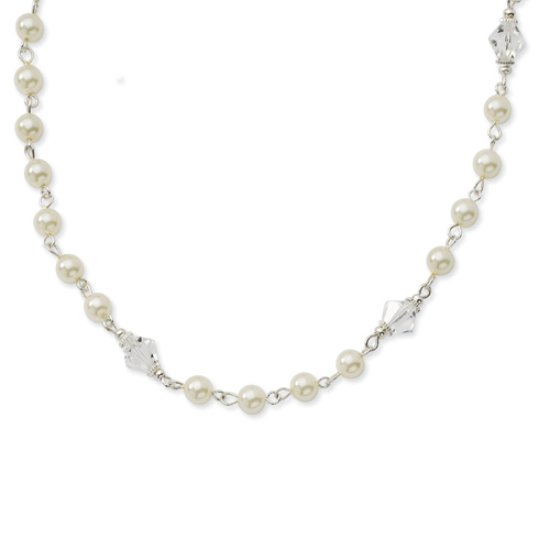 Silver-tone Cultura Glass Pearl Crystal Strand 15.5in Necklace