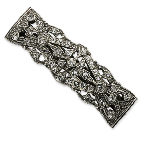Silver-tone Antiqued Crystal Barrette