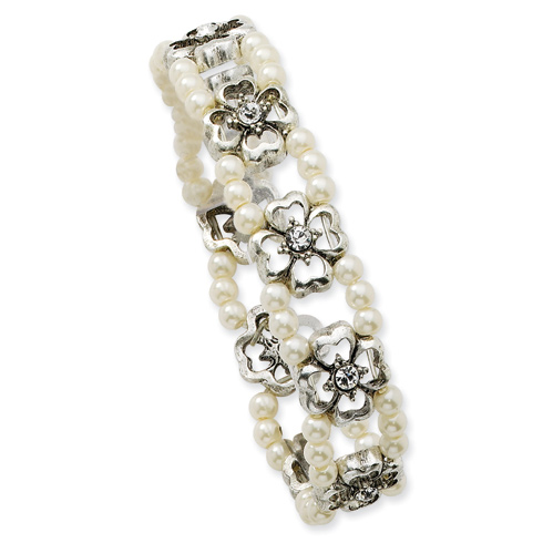 Silver-tone Crystal Cultura Glass Pearl Double Strand Stretch Bracelet
