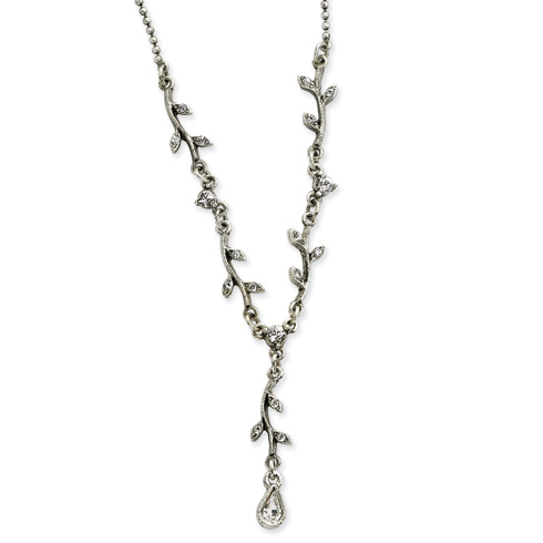 Silver-tone Crystal Vine 16in Necklace