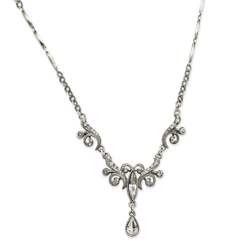 Silver-tone Swarovski Crystals Teardrop 15in Necklace