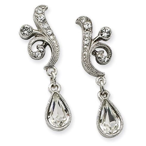Silver-tone Swarovski Crystal Teardrop Post Earrings