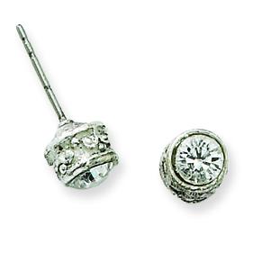 Silver-tone Crystal Stud Post Earrings