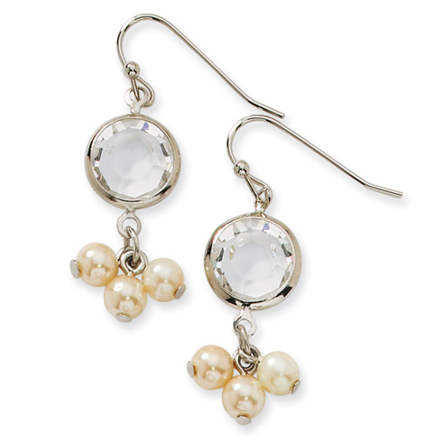 Silver-tone Crystal Bezel Cultura Glass Pearl Drop Earrings