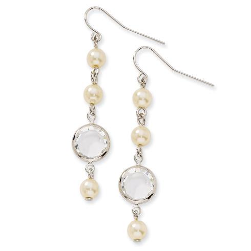 Silver-tone Crystal Bezel Cultura Glass Pearl Dangle Earrings