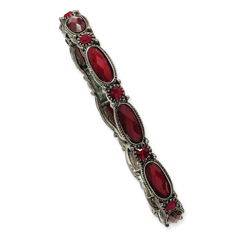 Black-plated Red Crystal Stretch Bracelet