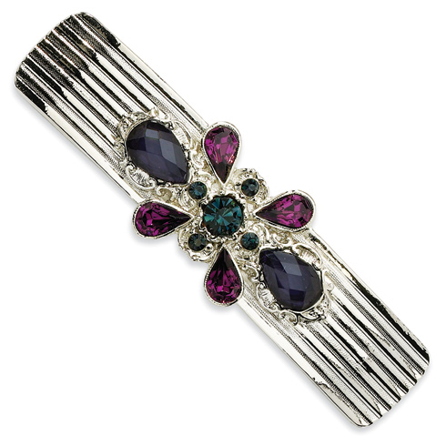 Silver-tone Blue and Dark Purple Crystal Barrette