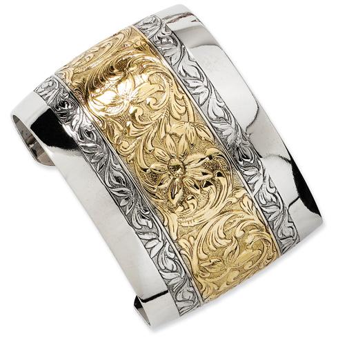 Gold-tone and Silver-tone Floral Cuff Bangle