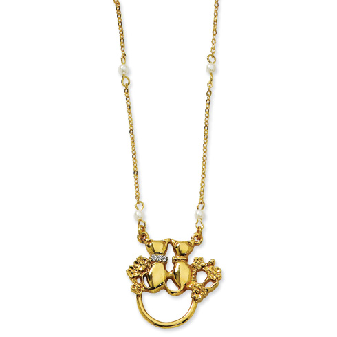 Gold-tone Cats with Cultura Glass Pearls Eyeglass Holder 28in Necklace