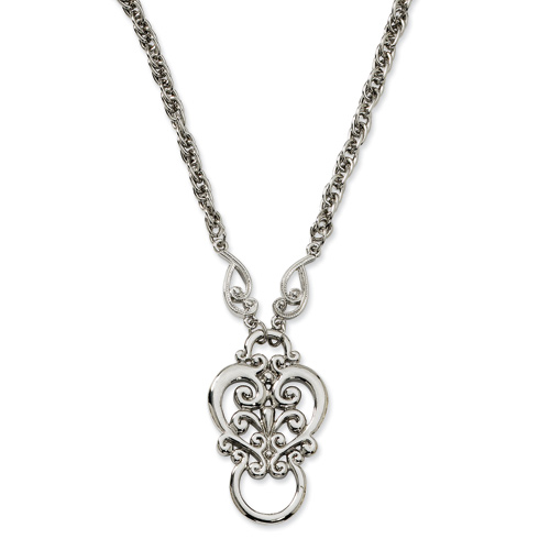 Silver-tone Fancy Scroll Eyeglass Holder Necklace
