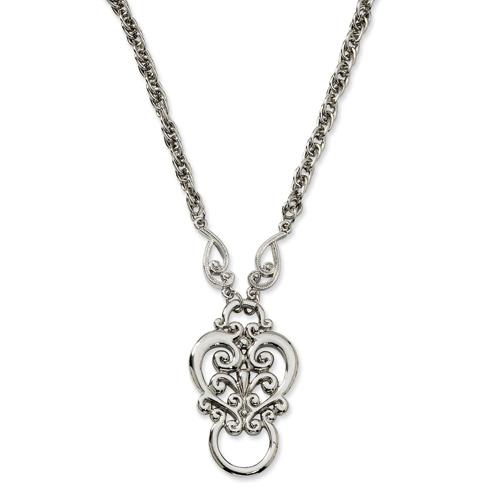 Silver-tone Fancy Scroll Eyeglass Holder Necklace