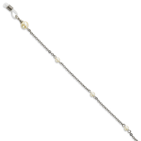 Cultura Glass Pearl Eyeglass Holder Silver-tone 30in Chain